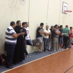 The fans line the court