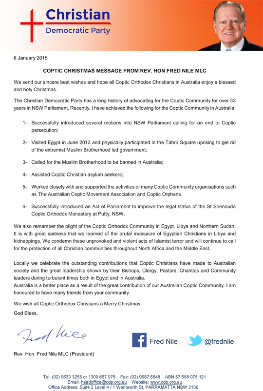 Fred Nile Coptic Christmas Message PDF