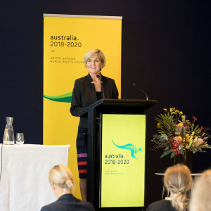 Minister for Foreign Affairs Julie Bishop addressing civil society participants at the 2018 DFAT NGO Forum on Human Rights (DFAT/Linda Roche)